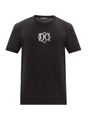 Dolce & Gabbana - Monogram-embroidered Cotton-jersey T-shirt - Mens - Black