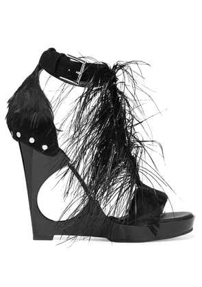 Alexander Mcqueen Feather-embellished Suede And Acrylic Wedge Sandals Woman Black Size 36