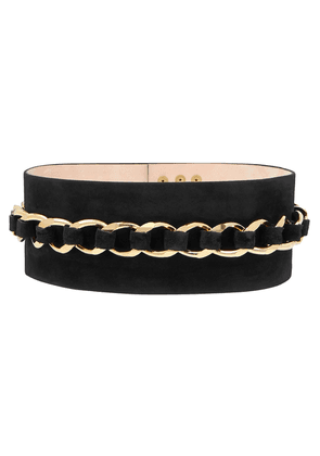 Balmain Chain-embellished Suede Waist Belt Woman Black Size 34