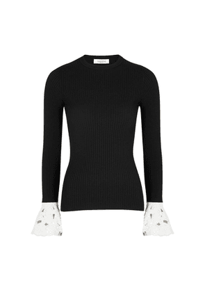 Valentino Monochrome Embellished Ribbed-knit Top