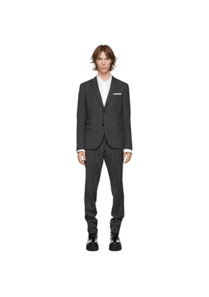 Neil Barrett Grey and White Wool Stripe Slim Fitted Suit
