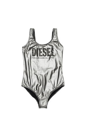 Logo Printed Metallic One Piece Swimsuit