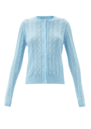 Prada - Cable-knit Cardigan - Womens - Blue