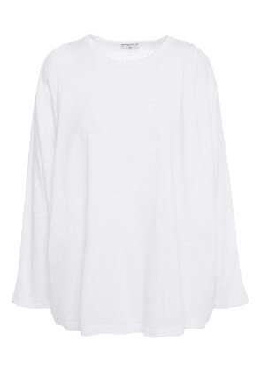 Clu Paneled Cotton-jersey And Cotton And Silk-blend Voile Top Woman White Size M