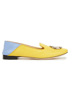 Emilio Pucci Embellished Lizard-effect Leather Collapsible-heel Loafers Woman Yellow Size 37