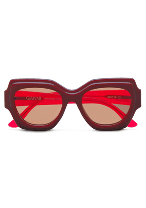 Ganni Square-frame Two-tone Acetate Sunglasses Woman Red Size --