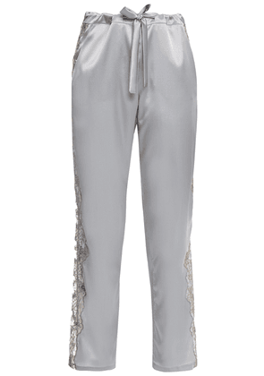 I.d. Sarrieri Embroidered Tulle-trimmed Silk-blend Satin Pajama Pants Woman Light gray Size 1