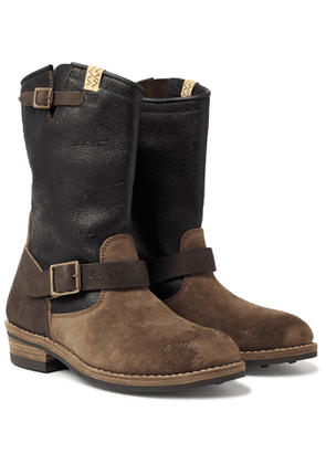 visvim - T.W.O. Distressed Textured Burnished-Leather and Suede Boots - Men - Brown
