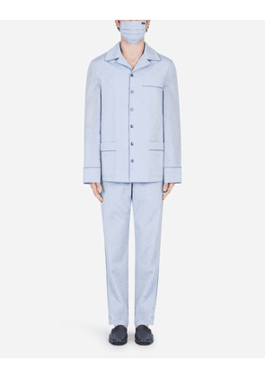 Dolce & Gabbana Loungewear Collection - Polka-dot jacquard pajama set with matching face mask AZURE male 52