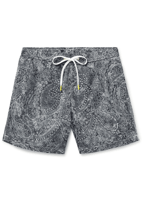 Hartford - Slim-Fit Mid-Length Paisley-Print Swim Shorts - Men - Gray