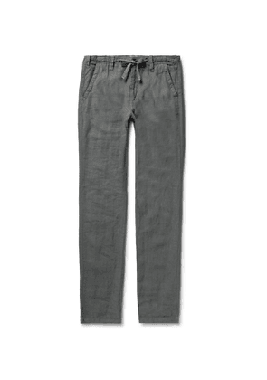 Hartford - Charcoal Troy Slim-Fit Linen Drawstring Trousers - Men - Gray