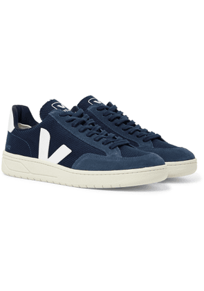 Veja - V-12 Leather and Rubber-Trimmed Suede and B-Mesh Sneakers - Men - Blue