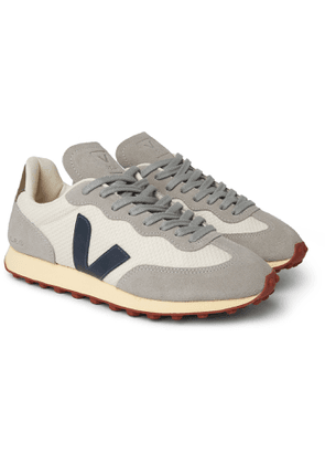 Veja - Rio Branco Leather and Rubber-Trimmed Hexamesh and Suede Sneakers - Men - Gray
