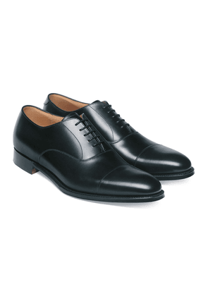 Black Leather Lime Oxford Shoes
