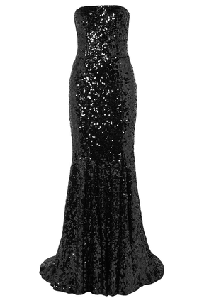 Dolce & Gabbana Strapless Sequined Tulle Gown Woman Black Size 38