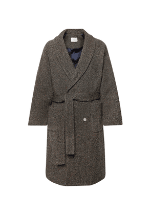 Aimé Leon Dore - Shawl-Collar Belted Double-Breasted Wool-Jacquard Coat - Men - Gray