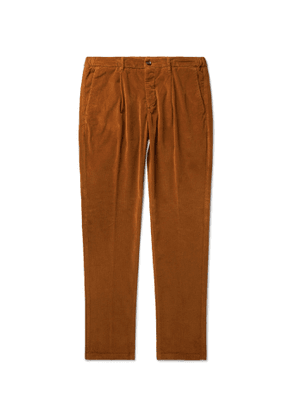 Altea - Tapered Cotton-Blend Corduroy Drawstring Trousers - Men - Brown