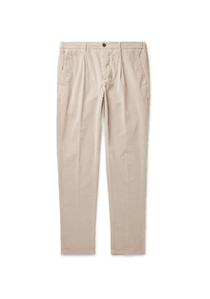 Altea - Tapered Cotton-Blend Corduroy Drawstring Trousers - Men - Neutrals