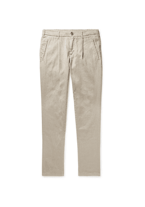 Altea - Bowery Tapered Pleated Linen-Blend Trousers - Men - Neutrals