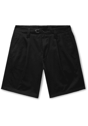 Dolce & Gabbana - Pleated Cotton-Blend Drill Shorts - Men - Black