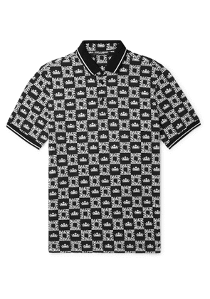 Dolce & Gabbana - Slim-Fit Printed Cotton-Piqué Polo Shirt - Men - Black