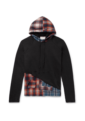 Greg Lauren - Panelled Distressed Loopback Cotton-Jersey and Checked Cotton-Flannel Hoodie - Men - Black