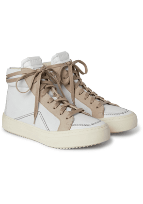 Rhude - V1 Suede and Leather High-Top Sneakers - Men - White