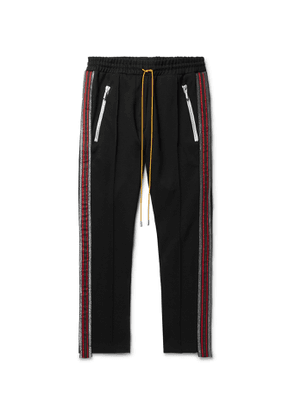 Rhude - Traxedo Tapered Cropped Webbing-Trimmed Satin-Jersey Drawstring Trousers - Men - Black