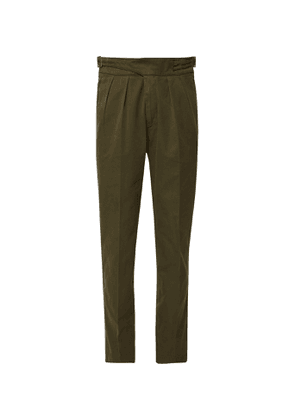 Rubinacci - Manny Navy Tapered Pleated Stretch-Virgin Wool Twill Trousers - Men - Green