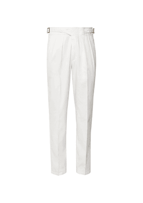 Rubinacci - Manny Navy Tapered Pleated Stretch-Virgin Wool Twill Trousers - Men - White
