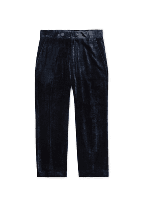 Sies Marjan - Navy Alex Cropped Silk and Cotton-Blend Corduroy Trousers - Men - Blue