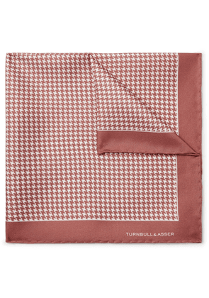 Turnbull & Asser - Puppytooth-Print Silk-Twill Pocket Square - Men - Pink