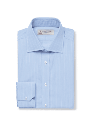 Turnbull & Asser - Light-Blue Slim-Fit Striped Cotton-Poplin Shirt - Men - Blue