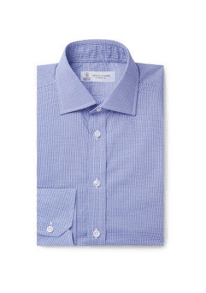 Turnbull & Asser - Navy Slim-Fit Cutaway-Collar Micro-Gingham Cotton-Poplin Shirt - Men - Blue