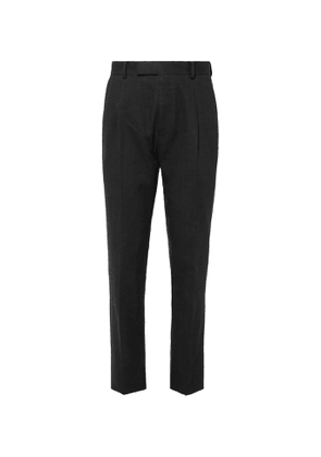 Wacko Maria - Black Tapered Pleated Herringbone Linen Suit Trousers - Men - Black