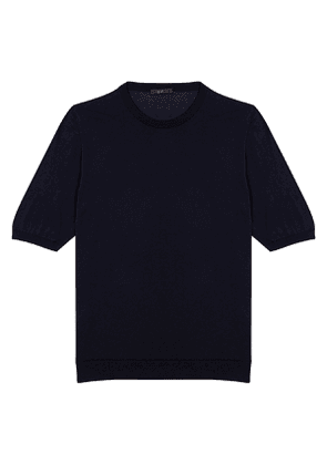 Navy Mako Cotton Crew Neck Tee Shirt