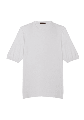 White Mako Cotton Crew Neck Tee Shirt