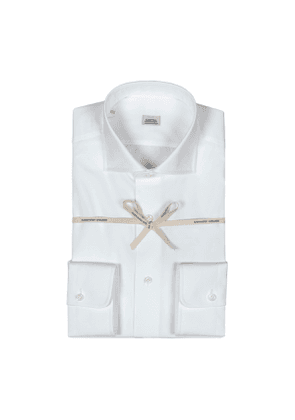 White Poplin Cotton Shirt With High French Collar