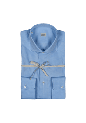 White Compact Cotton Shirt With High French Collar