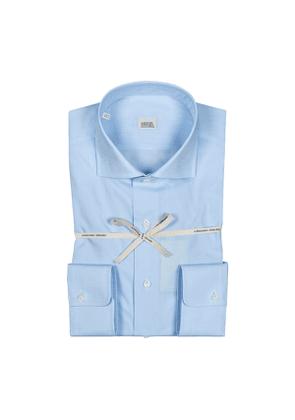 Light Blue Zephir Cotton Shirt With High French Collar