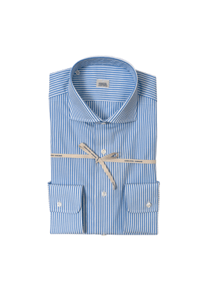 Light Blue Striped Cotton Shirt With High French Collar