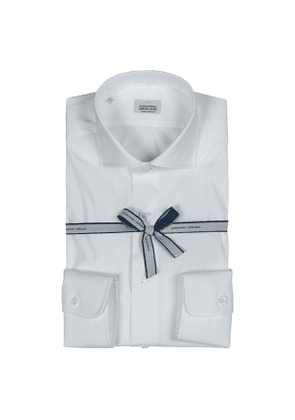 White Stretch Cotton Shirt with French Collar