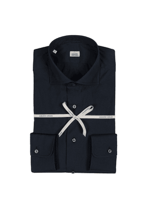 Dark Blue Stretch Cotton Shirt with French Collar