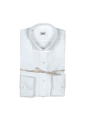 White Poplin Cotton Rounded Cuff Shirt