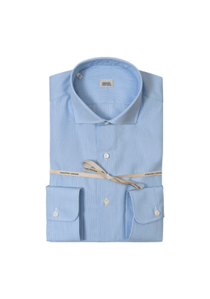 Light Blue Striped Poplin Cotton Shirt