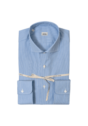 Blue Striped Poplin Cotton Shirt