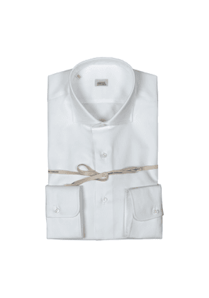 White Twill Cotton Shirt With French Collar