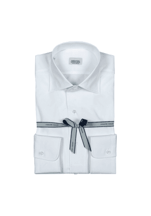 White Poplin Cotton One-Piece Collar Shirt