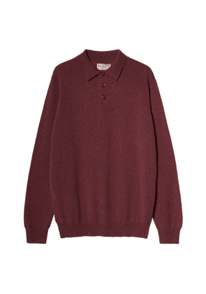 Men's Midweight Cashmere Polo in Glenvale Red