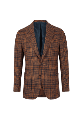 Brown And Blue Check Patch Pocket Jacket